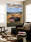 Bison and Calf Grazing - Yellowstone National Park Wall Mural by  Lantern Press