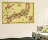 Japan - Panoramic Map Wall Mural by  Lantern Press