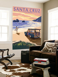 Santa Cruz, California - Woody on Beach Wall Mural by  Lantern Press
