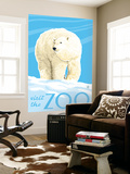 Visit the Zoo, Polar Bear Solo Wall Mural by  Lantern Press