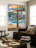 Waikiki, Oahu, Hawaii - Sign Destinations Wall Mural by  Lantern Press
