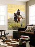 Montana, Last Best Place, Cowboy on Horseback Wall Mural by  Lantern Press