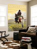 Montana, Last Best Place, Cowboy on Horseback Wall Mural by  Lantern Press