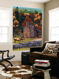 Cades Cove and John Oliver Cabin - Great Smoky Mountains National Park, TN Wall Mural by  Lantern Press