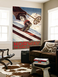 Norway - The Home of Skiing Wall Mural by  Lantern Press
