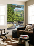 Leconte Creek and Mt. Leconte - Great Smoky Mountains National Park, TN Wall Mural by  Lantern Press