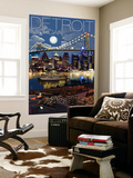 Detroit, Michigan - Skyline at Night Wall Mural by  Lantern Press
