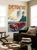 Detroit, Michigan - Vintage Car and Skyline Wall Mural by  Lantern Press