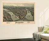 Pittsburgh, Pennsylvania - Panoramic Map Wall Mural by  Lantern Press