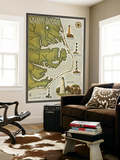 Lighthouse and Town Map - Outer Banks, North Carolina Wall Mural by  Lantern Press