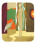 La Femme et l'Oiseau Serigraph by Andre Minaux