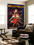 Women Dancing with Wine - Walla Walla, Washington Art Mural par  Lantern Press