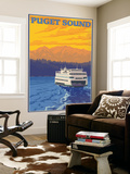 Ferry and Mountains, Puget Sound, Washington Wall Mural by  Lantern Press