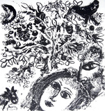 Couple Beside Tree Serigraph by Marc Chagall