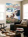 Mt. Olympus and Elk - Olympic National Park, Washington Wall Mural by  Lantern Press