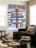 New England - Ski Areas Sign Destinations Wall Mural by  Lantern Press