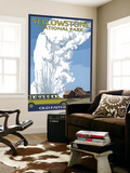 Old Faithful Lodge and Bus - Yellowstone National Park Wall Mural by  Lantern Press