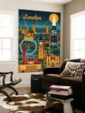 London, England - Retro Skyline Wall Mural by  Lantern Press