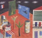 Detail from The Zanzibar with Postcards and Kiosks set Collectable Print by David Hockney