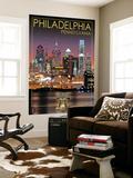 Philadelphia, Pennsylvania - Skyline at Night Wall Mural by  Lantern Press