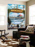 Huntington Beach, California - Montage Scenes Wall Mural by  Lantern Press