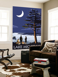 Lake Michigan - Bonfire at Night Scene Wall Mural by  Lantern Press