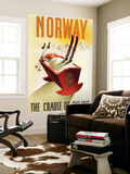 Norway - The Cradle of Skiing Art Mural par  Lantern Press