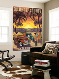 Orange County, California - Woodies and Sunset Wall Mural by  Lantern Press