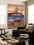 Mackinac Bridge and Sunset, Michigan Wall Mural by  Lantern Press