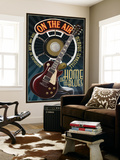 Memphis, Tennessee - Guitar and Microphone - Blue Wall Mural by  Lantern Press