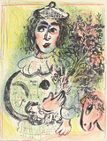 Clown with Flowers Serigraph by Marc Chagall