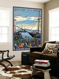 Boston, Massachusetts - Boston Tea Party Scene Wall Mural by  Lantern Press