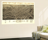 Ann Arbor, Michigan - Panoramic Map Wall Mural by  Lantern Press