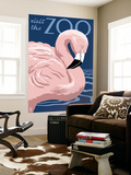 Flamingo - Visit the Zoo Wall Mural by  Lantern Press