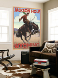 Jackson Hole, Wyoming Bucking Bronco Wall Mural by  Lantern Press