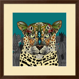 Leopard Queen Teal Prints by Sharon Turner