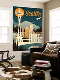Seattle, Washington - Retro Skyline Wall Mural by  Lantern Press