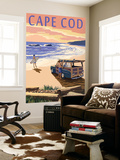 Cape Cod, Massachusetts - Woody on Beach Wall Mural by  Lantern Press