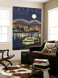 Memphis, Tennessee - Memphis Skyline at Night Wall Mural by  Lantern Press