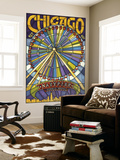 Chicago's Navy Pier and Ferris Wheel Wall Mural by  Lantern Press