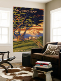 Morro Bay, California Town View with Morro Rock Poster Wall Mural by  Lantern Press