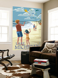 Lake Michigan - Children Flying Kites Wall Mural by  Lantern Press