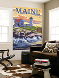 Nubble Lighthouse - York, Maine Wall Mural by  Lantern Press