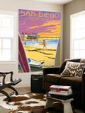 San Diego, California - Ocean Beach Wall Mural by  Lantern Press