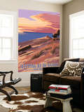 Sleeping Bear Dunes, Michigan - Dunes Sunset and Bear Wall Mural by  Lantern Press