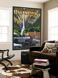 Multnomah Falls - Train and Cars Wall Mural by  Lantern Press
