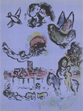 Nocturne in Vence Serigraph by Marc Chagall