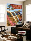 Laguna Beach, California - Woodies Lined Up Wall Mural by  Lantern Press