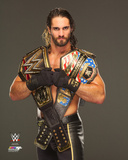 Seth Rollins with the World Heavyweight & United States Champions Belts 2015 Photo