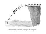 """There's nothing worse than waiting in the wrong line."" - New Yorker Cartoon Premium Giclee Print by Tom Toro"